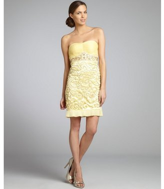 Sue Wong daffodil beaded satin and pleated chiffon strapless dress