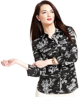 Charter Club Long-Sleeve Printed Shirt