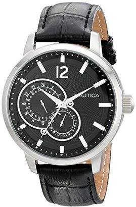 Nautica Unisex N15047G NCT 15 Stainless Steel Watch with Black Leather Band $125 thestylecure.com