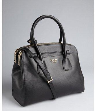 Prada black saffiano leather dual zip top convertible tote