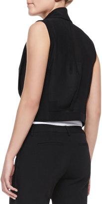 T Tahari Zora Cropped Chiffon-Back Vest