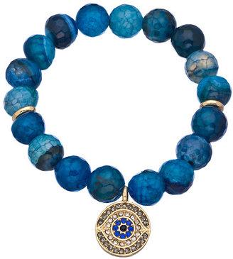 Blu Bijoux Blue Round Evil Eye Stretch Bead Bracelet