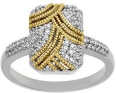Lord & Taylor Sterling Silver with 14Kt Yellow Gold Diamond Ring