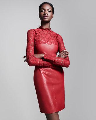 Valentino Lace-Yoke Leather Dress, Rosso