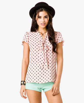 Forever 21 Polka Dot Self-Tie Georgette Top