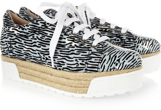 Kenzo Printed canvas and patent-leather platform sneakers