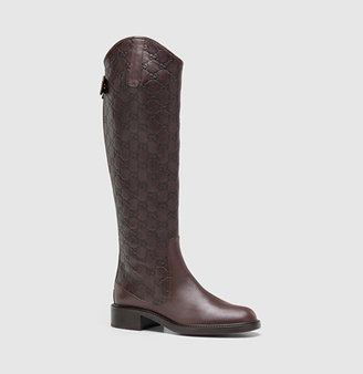 Gucci Maud Brown Leather Tall Flat Boot