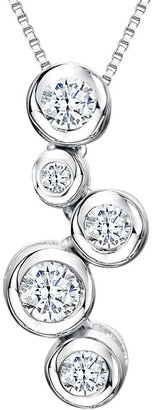 Jools by Jenny Brown Cubic Zirconia 5 Circle Pendant Necklace, Silver