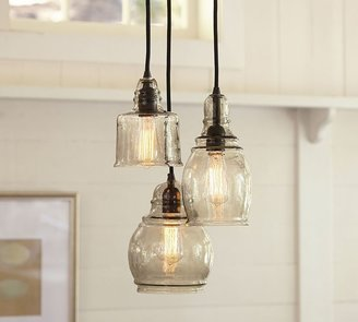 Pottery Barn Paxton Glass 3-Light Pendant