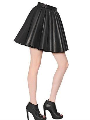 David Koma Pleated Nappa Leather & Wool Crepe Skirt