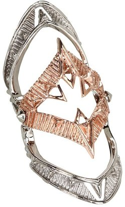 House Of Harlow Moroccan Goum Armour Ring (Rose Gold/Silver) - Jewelry