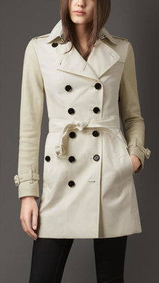 Burberry Mid-length Gabardine Trench Coat with Python Sleeves