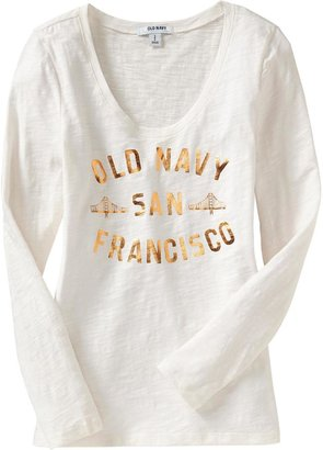 Old Navy Women's Logo Slub-Knit Tees