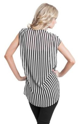 GUESS Striped Tie-Front Sleeveless Top
