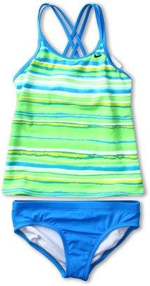 Nike Tie Dye Stripe Spider Back Tankini 2-Piece (Big Kids) (Photo Blue) - Apparel