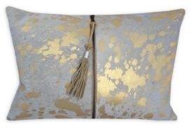 Callisto Home Stenciled Zip-Detail Calf Hair Pillow