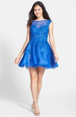 La Femme Lace Appliqué Tulle Fit & Flare Dress
