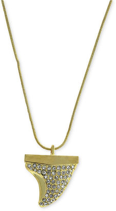 Vince Camuto Necklace, Gold-Tone Clear Crystal Pave Stone Shark Tooth Pendant Necklace