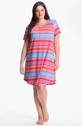 Nordstrom 'Dreamy' Short Sleeve Henley Sleep Shirt (Plus Size) Pink Fandango Stripe 2X