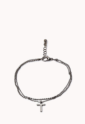 Forever 21 Cross Bead Chain Bracelet