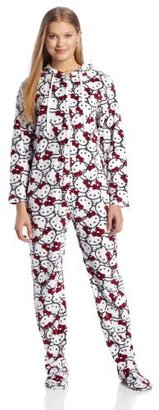 Hello Kitty Junior's Sweet Affection Black Red Bow Print Hoodie Footie Jumpsuit