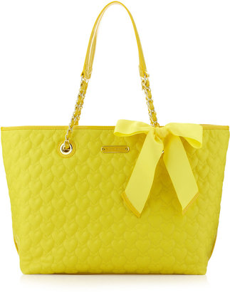 Betsey Johnson Heart Quilted Tote, Yellow