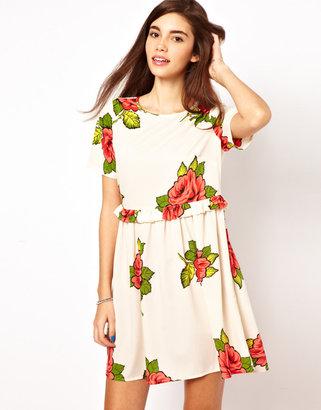 Asos Smock Dress In Rose Print