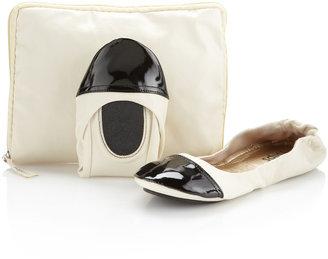 CitySlips Foldable Ballerina Flats, Ivory/Black