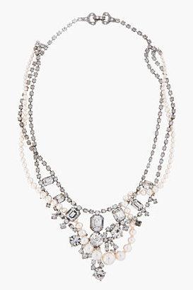 Tom Binns White Pearl & Crystal Small Grande Dame Necklace