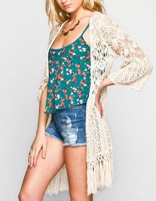 Blu Pepper Womens Crochet Cardigan