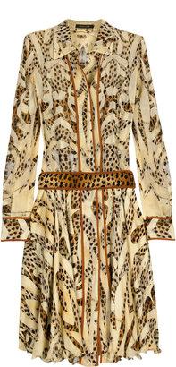 Roberto Cavalli Leopard chiffon shirt dress