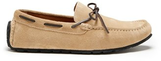 Hugs & Co Tyre Sole Laced Driving Loafers Taupe Suede