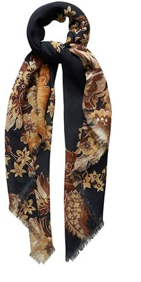 Eton Navy & Brown Flower Foulard Scarf