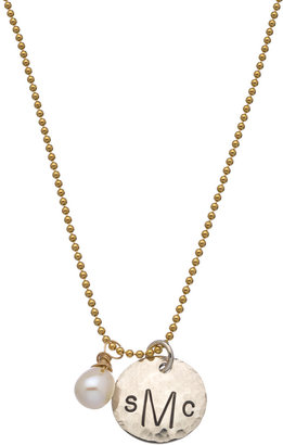 Jenny Present Hammered Pearl Monogram Necklace