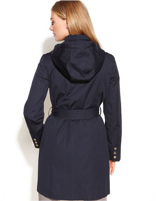 MICHAEL Michael Kors Coat, Hooded Single-Breasted Belted Trench