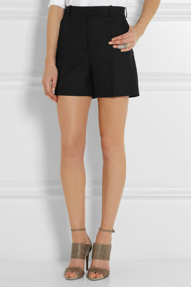 McQ by Alexander McQueen Pleated wool-blend twill shorts