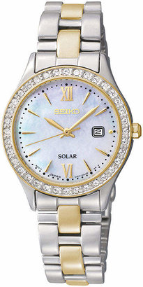 Seiko Womens Crystal-Accent Two-Tone Stainless Steel Solar Watch SUT074