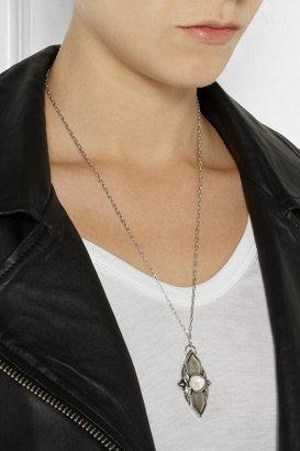 Shield silver moonstone pendant necklace