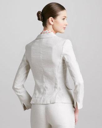 Armani Collezioni Three-Button Weave-Stripe Jacket