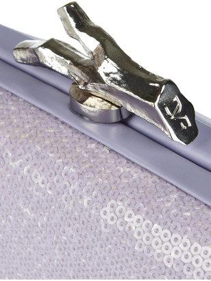 Diane von Furstenberg Lytton sequin-embellished leather and satin box clutch