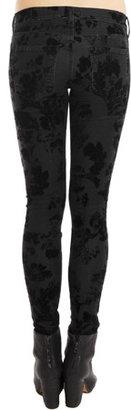 Current/Elliott Ankle Skinny Black Velvet Floral