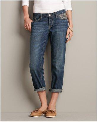 Eddie Bauer Embroidered Cropped Boyfriend Jeans