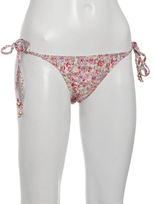 Lisa Curran Swim pink floral 'Catalonia' beaded tie bikini bottom