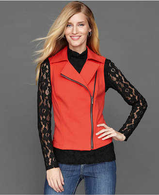 INC International Concepts Vest, Knit Zip-Front Moto