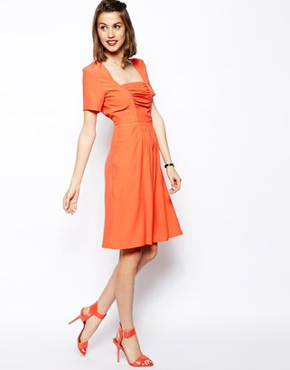 Asos Midi Dress With Ruched Front Detail