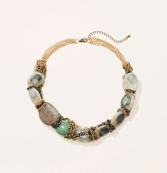 LOFT Short Chain Wrapped Stone Necklace