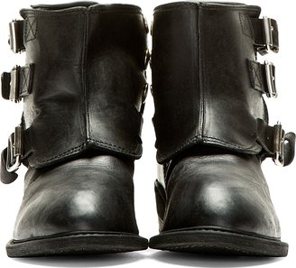 Golden Goose Black Leather Buckled-Guard Noha Boots