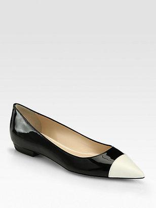 Giorgio Armani Leather & Patent Ballet Flats