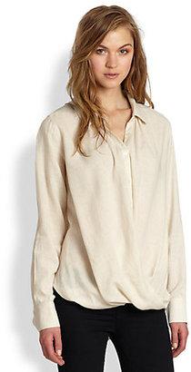 Nicholas K Ritz Draped Twisted-Hem Cotton Shirt
