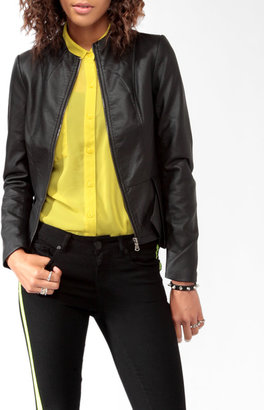 Forever 21 Faux Leather Peplum Jacket